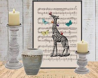 Giraffe wall decor art print Butterfly COUPON Nursery decor Dictionary art print Wall decor Sheet music print Digital art print  No. 238