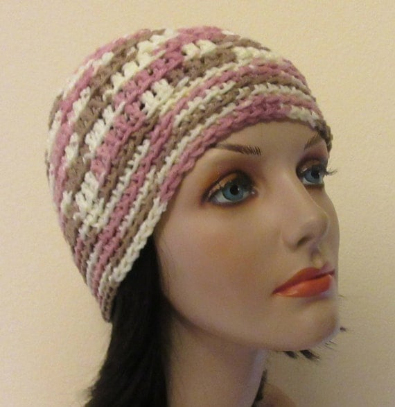Pink Tan Cream Beanie, Cold Weather Hat, Pink Snow Hat, Hockey Mom, Women's Winter Hat, Snow Playing, Ice Skating