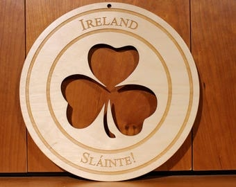 Irish Clover Wall Art, Warm Pot Trivet, Pattern T54, Ireland Slainte, Laser Engraved, Paul Szewc, Masterpiece Laser