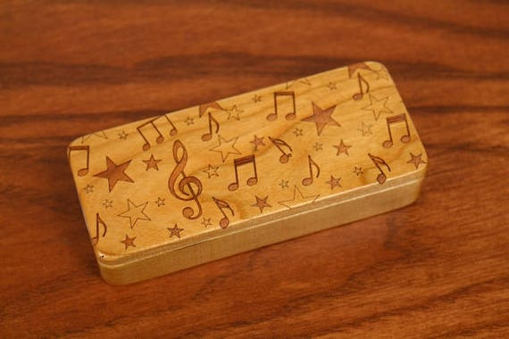 "Music Notes Stash Box, 5"" x 2"" x 1"", Pattern ST22, Solid Cherry, Rare Earth Magnets for closure and security, Paul Szewc, Masterpiece Laser"
