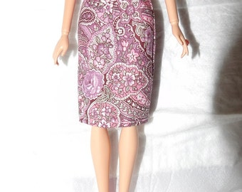 Fashion Doll Coordinates - Pink paisley & floral skirt - es417