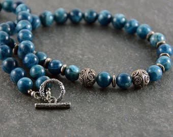 Blue Beaded Necklace Blue Apatite Necklace Sterling Silver Bali Bead Artisan Necklace