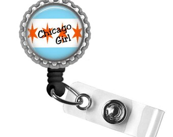 Chicago Girl..Retractable Badge Reel..ID Holder..Bottle Cap ID Badge..Great Gift