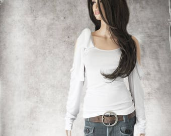 White tank top/Removable shoulder bow/Slouch long sleeve/women knit tee