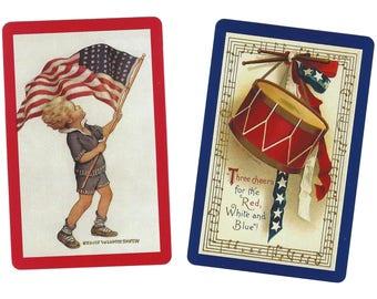 America's RED, WHITE, & BLUE (2) Single Swap Playing Cards Paper Ephemera Scrapbook