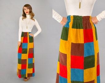 70's Corduroy Patchwork Maxi Skirt