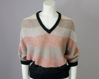 80s Vintage Silk Angora Color Wave Knit Blouse (M,L)