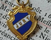 Adorable petite antique French gilded and enamel charm JURY c1900 BELLE BROCANTE