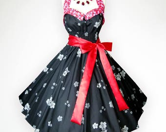 Bunny Black Adorable Gray Sakura 50s Pin up Rockabilly Swing Dress Full Swing Skirt