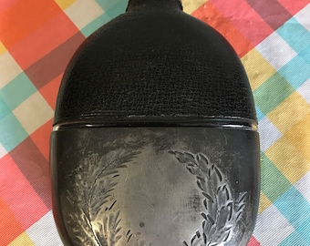 Antique Leather Glass Metal Turn of the Century Flask