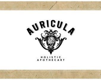 Custom Logo Design - PreDesigned Logo PreMade Logo Vector Logo - OOAK Logo - AURICULA Logo Branding - Gothic Chic Logo - Victorian Logo