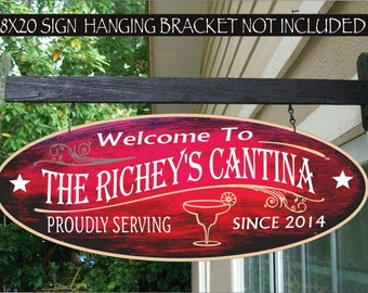 MARGARITA GLASS Cantina Bar Tavern Pub Kitchen Man Cave Gift Family Name Aluminum Custom Personalized Sign