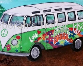 Flower power! This VW bus is about a 1970's original painting 4X12