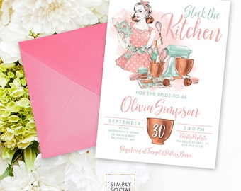 Kitchen Bridal Shower Invitation - Stock the Kitchen Shower Pots Pans Cookware Mixer Cookbook Spatula Retro Invitation Printable Invitation