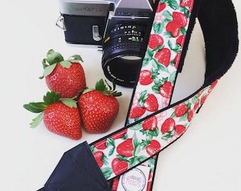 Camera Strap - Strawberry Accessories- DSLR Camera Strap - Camera Accessories - Photographer Gift - Birthday Gift - Strawberries