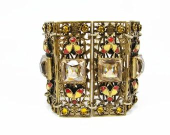 Czech Enamel Bracelet, Antique Jewelry, Jeweled Bracelet, Citrine Glass, Glass Brass Bracelet, Estate Jewelry, Art Deco, Bracelet
