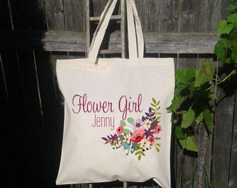 Flower Girl Tote Bag, Wedding Welcome Bag, Wedding Tote Bag