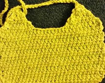 Handmade Infant Baby Drool Feeding Style Bib Crocheted by Meow Creations Using Cotton Yarn