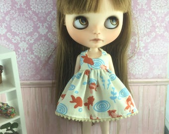 Blythe Dress - Koi Fish Goldfish on cream