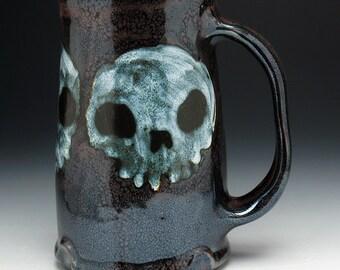 Triple Zombie Skulls Beer Stein, XL Skull Mug
