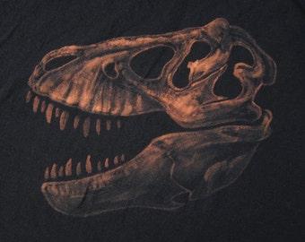 Tyrannosaurus Skull Fossil Dinosaur TShirt - Bleach Painted - Custom Gift - Made to Order - T-rex Skull - Natural History - Gifts for Him