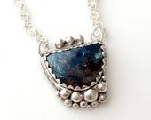 ON SALE Blue Shattucktite necklace, Silver bubble necklace, blue stone pendant