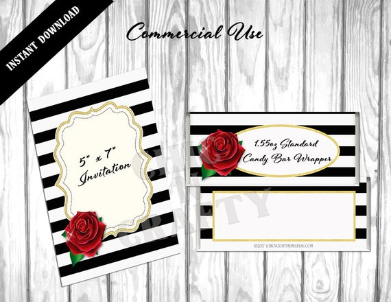 candy bar wrapper template publisher - elegant black white striped diy printable candy bar