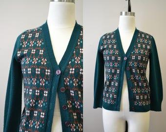 1960s Green Wintuk Cardigan Sweater