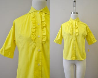 1960s Yellow Ruffled Blouse