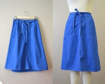 1980s Koret Blue Wrap Skirt