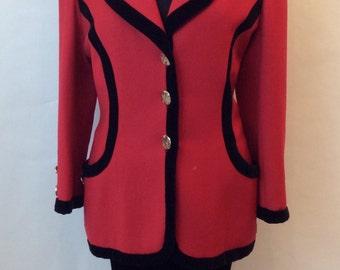 Oscar De La Renta Red with Black Velvet Riding Jacket