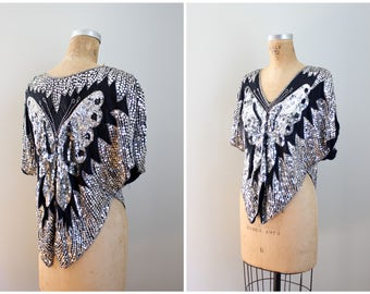 sequined 70s disco top - cropped butterfly disco blouse / India sequin top - 70s sequin & silk top / disco party top - hippie luxe top