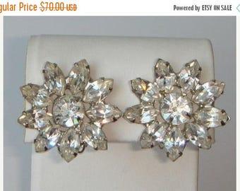 Crazy Brilliant Signed GARNE Magnificent Flower Clear Rhinestone Vintage Clip Earrings - 'Tis Always the Season
