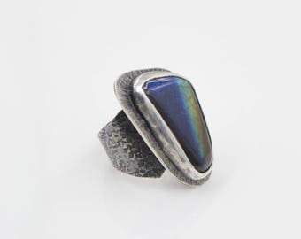 Hand Carved Spectrolite Hammered Sterling Ring