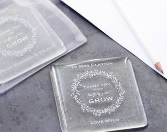 Personalised Thank you For Helping Me Grow glass coaster