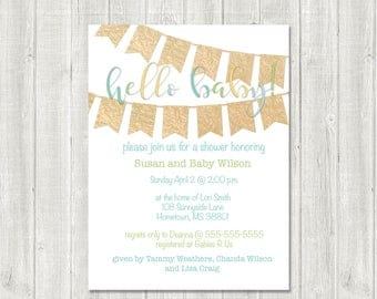gender neutral baby shower Invitation // Simple & Classic Design//HELLO BABY// colorful baby shower invite/ baby girl// baby boy