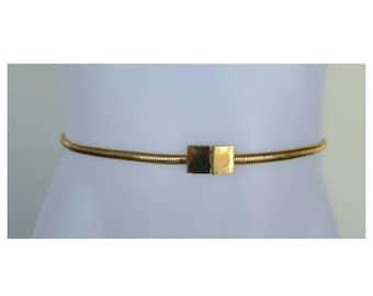 SALE Vintage 70s Belt / Vintage Belt / Coil Belt / Minimalist Belt / Gold Belt / Boho Belt