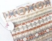 SALE TODAY Wool Pot Holders / Hot Pads RUST & Grey Beige Fair Isle Recycled Hotpads Potholders Eco Kitchen by WormeWoole