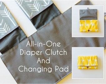 MADE TO ORDER All-in-One Diaper Clutch and Changing Pad, Yellow/Gray diaper clutch and changing pad