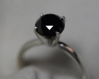 Black Diamond Ring, Certified 2.17 Carat Black Diamond Solitaire Ring Appraised at 2,150.00, Real Natural Genuine Diamond Jewelry