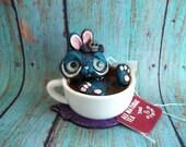 Tea Cup Tina the Tiny Bunny polymer clay sculpture original art figurine Covington Creations