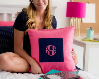 Monogrammed Hot Pink/Navy Pillow Cover