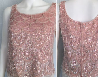 Mid Century Pink Sequin and Beaded Sweater Tank - Circa 1960s
