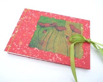 Red, poppy, guest book, A5, notebook, journal, sketchbook, handmade paper, Coptic, Japanese binding, A5