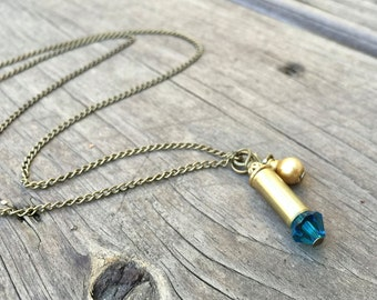 BULLET NECKLACE - brass bullet necklace with teal crystal - bullet jewelry - eco-friendly/upcycled jewelry - under 25
