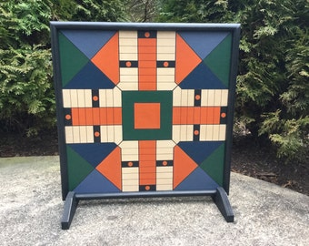 """19"""",  Parcheesi, Game Board, Wood, Hand Painted, Primitive, Game Boards, Board Game"""