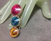 "Vintage 2"" Goldtone Large Pink Teal & Orange Rhinestone Pin"