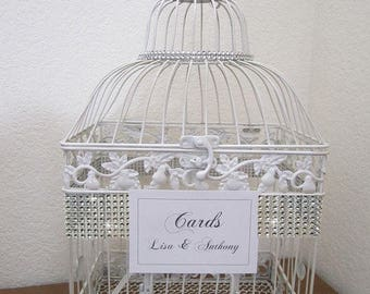 Large Bling White Birdcage with Rhinestone Brooch-Wedding Cardholder