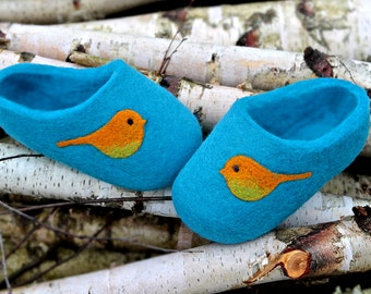 Hand made felted Wool Slippers in  Tirquoise with orange bird decor. Made to order.