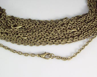 "25 30"" Antique Bronze ROLO Chain Necklaces with Lobster Clasp 3mm"